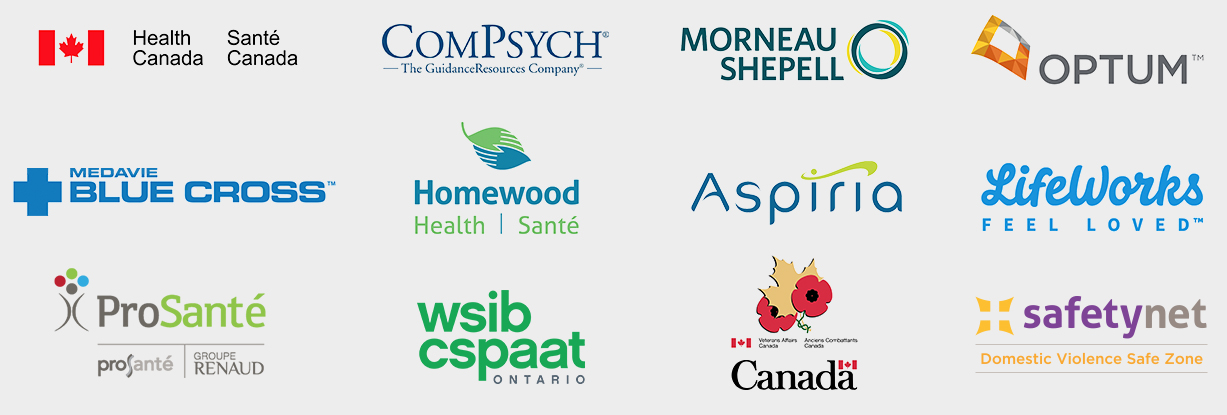 Trusted by Health Canada, Veteran Affairs Canada, ComPsych, Morneau Shepell, Blue Cross and More